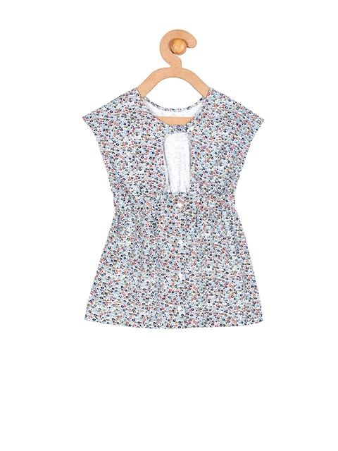 Cherry-Crumble-Girls-White-Printed-A-line-Dress