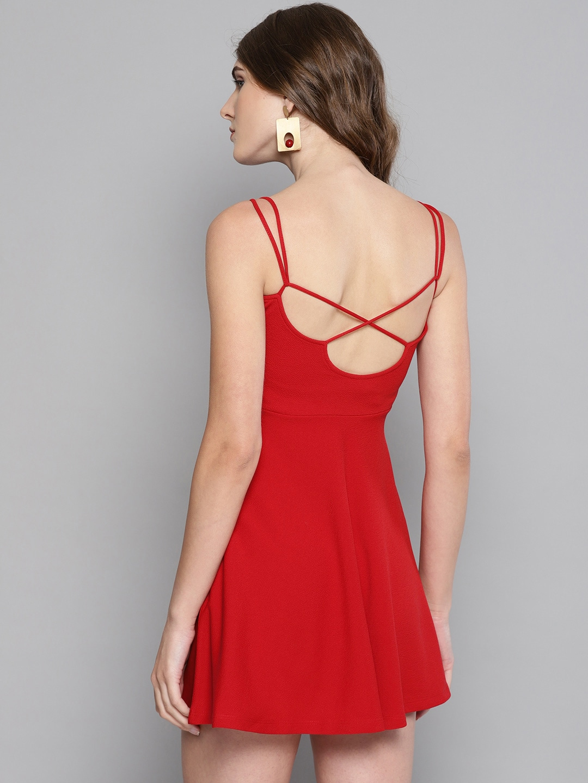 Veni Vidi Vici Women Red Solid Fit & Flare Dress