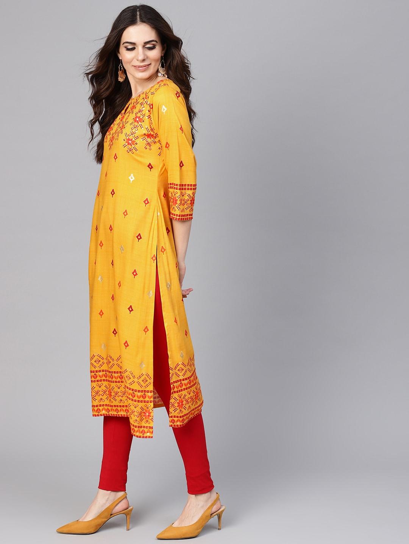 Libas Women Yellow & Red Printed Straight Kurta