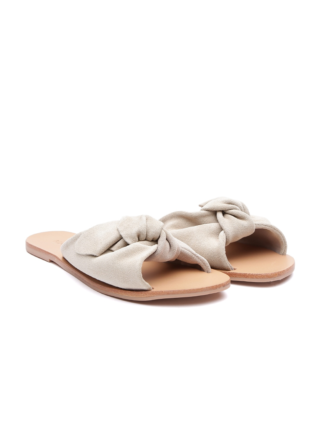 MANGO Women Beige Solid Leather Open Toe Flats