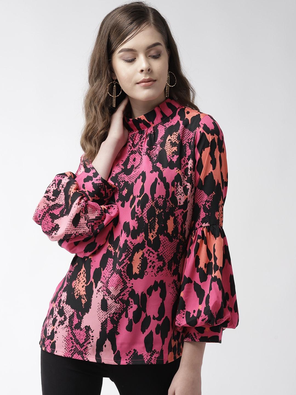 plusS Women Pink & Black Snakeskin Print Top