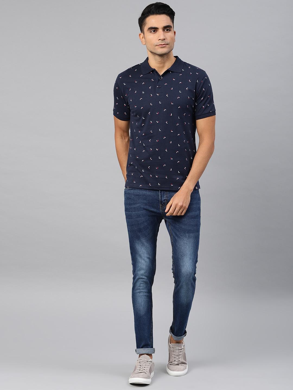 Genius18 Men Navy Blue Printed Polo Collar T-shirt