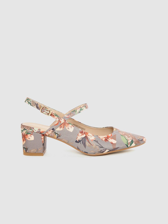 Allen Solly Women Grey & Peach-Coloured Floral Print Pumps