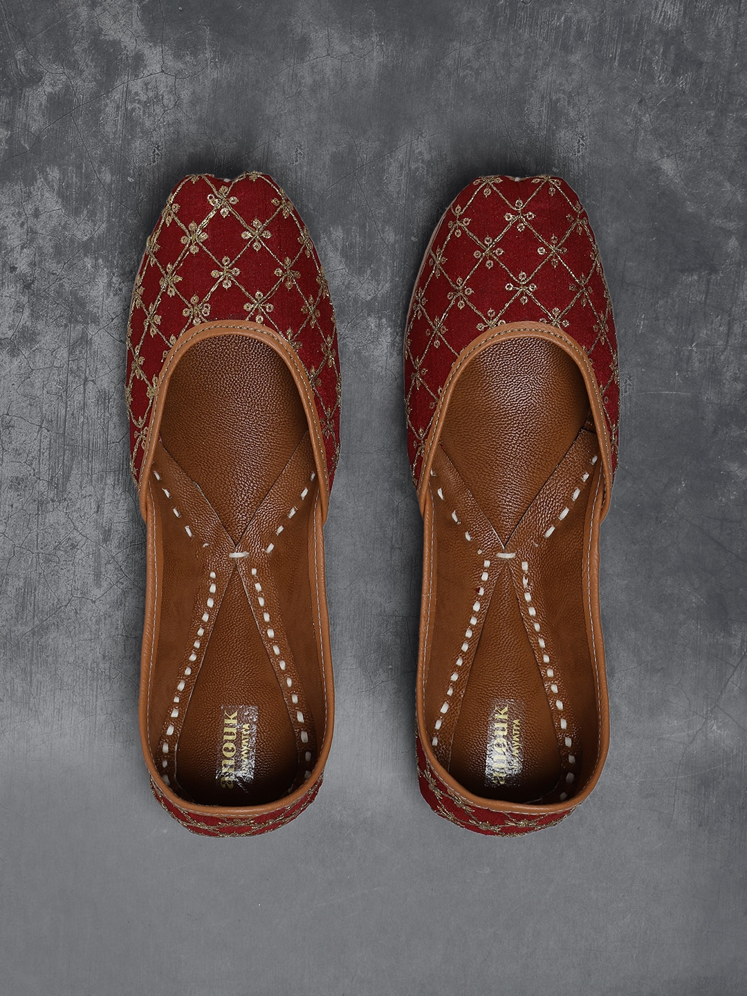 Anouk Women Maroon & Gold-Toned Embroidered Mojaris