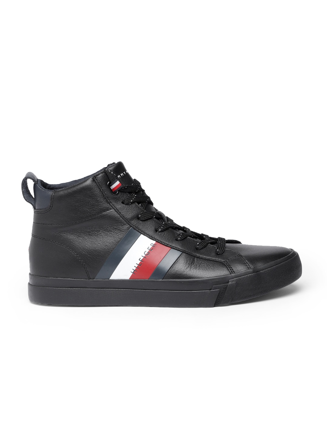 Tommy Hilfiger Men Black Solid Leather Mid-Top Sneakers