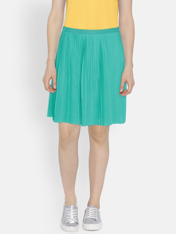 U S  Polo Assn  Women Green Flared Skirt