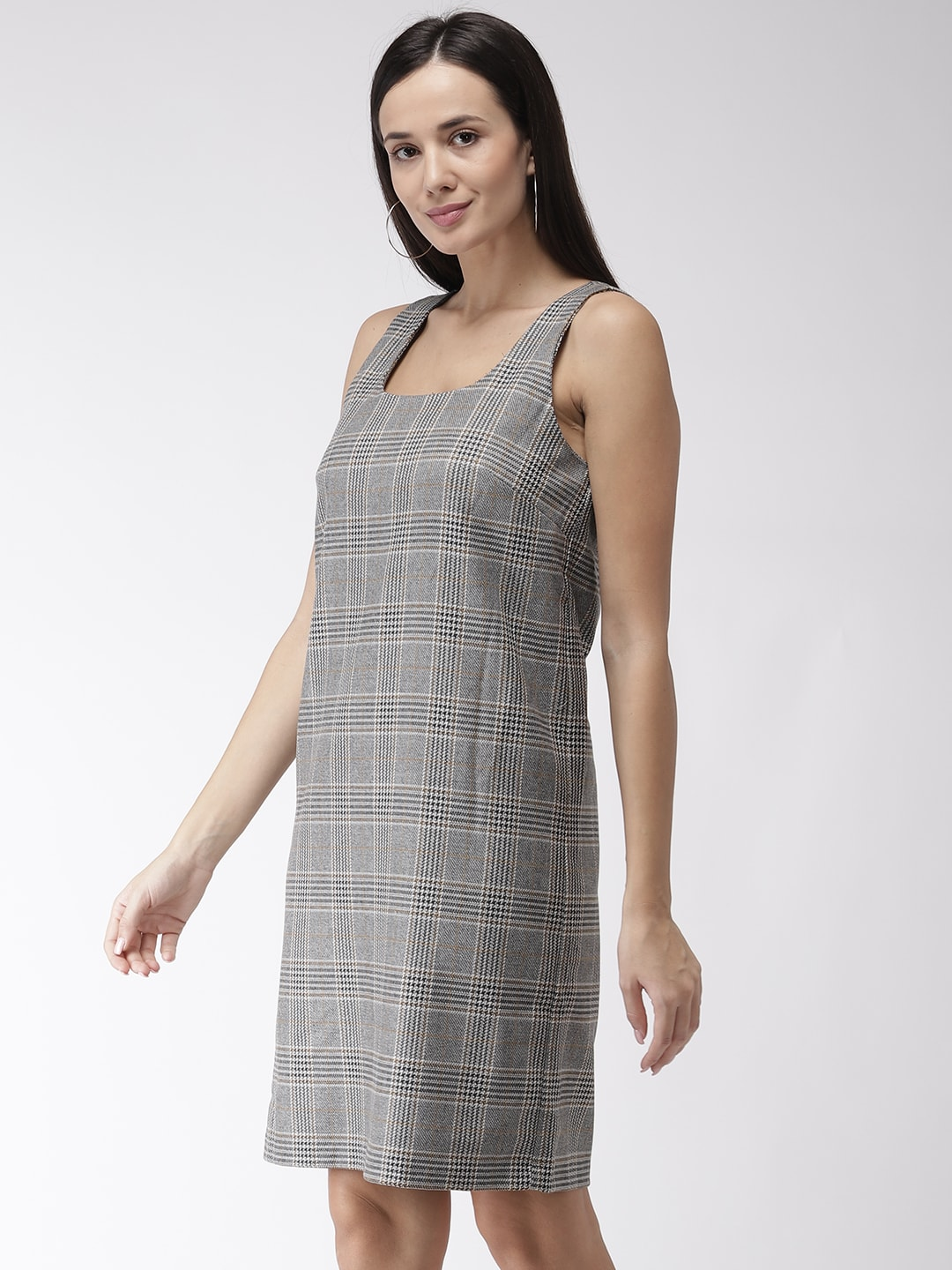 Marks & Spencer Women Grey & Black Checked Shift Dress