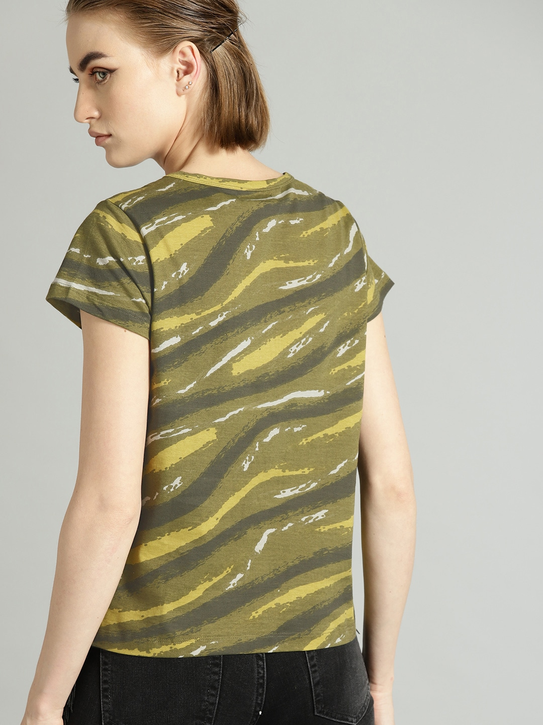 Roadster Women Olive Green & Yellow Printed Round Neck T-shirt