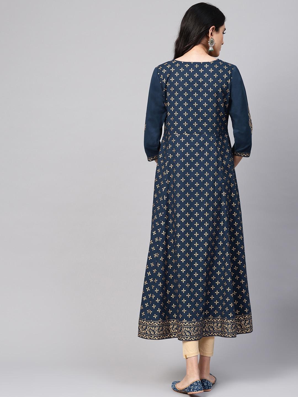 Varanga Women Teal Blue & Golden Printed A-Line Kurta