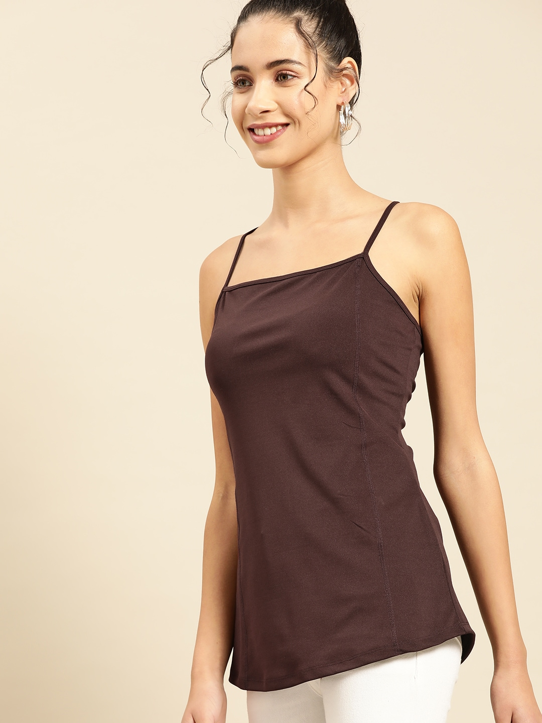 DressBerry Women Coffee Brown Solid Styled Back Top