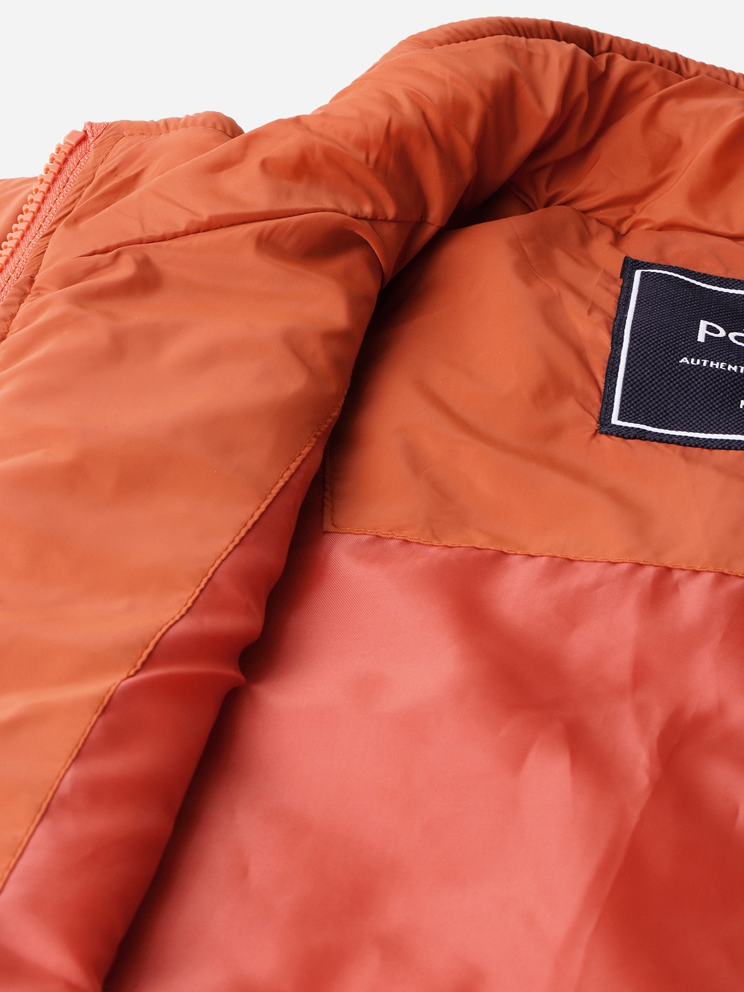 Parx Men Rust Orange Solid Padded Jacket