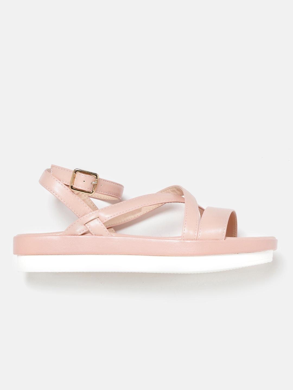 Mast & Harbour Women Peach-Coloured Solid Open Toe Flatforms