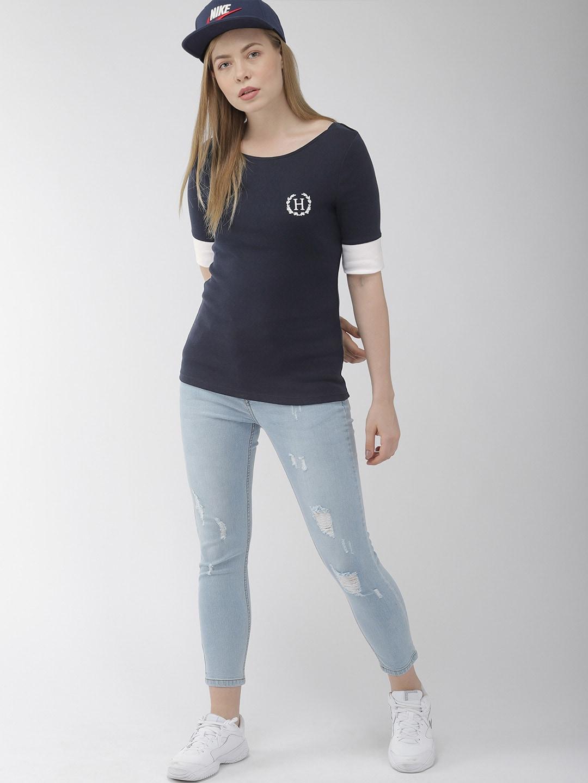Tommy Hilfiger Women Navy Blue Solid Round Neck T-shirt