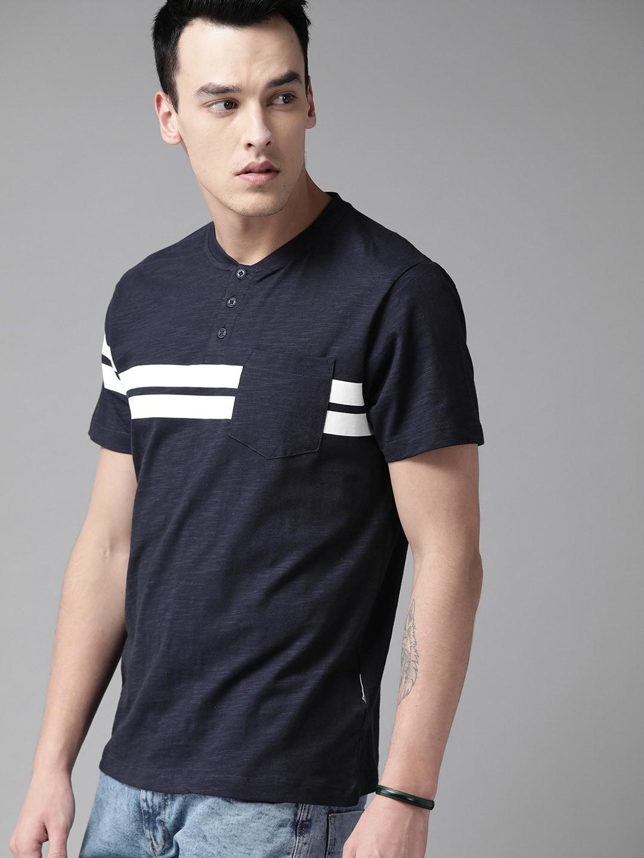 Roadster Men Navy Blue Placement Stripe Mandarin Collar T-shirt