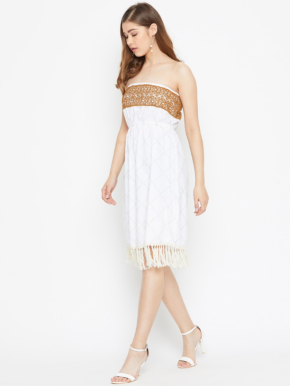 LA LOFT Women Off-White Checked A-Line Dress