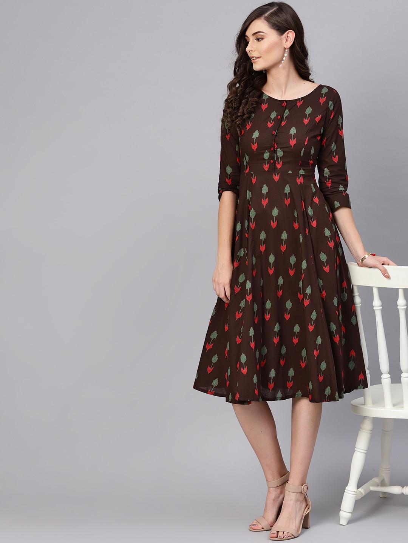 SASSAFRAS Women Coffee Brown & Green Printed A-Line Dress