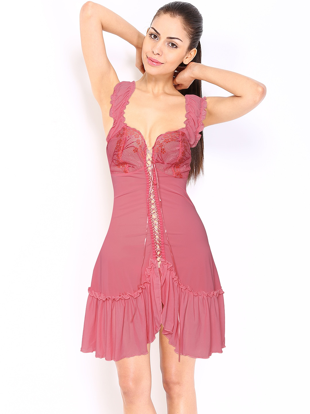 SDL by Sweet Dreams Pink Baby-Doll Nightdress BD54G5
