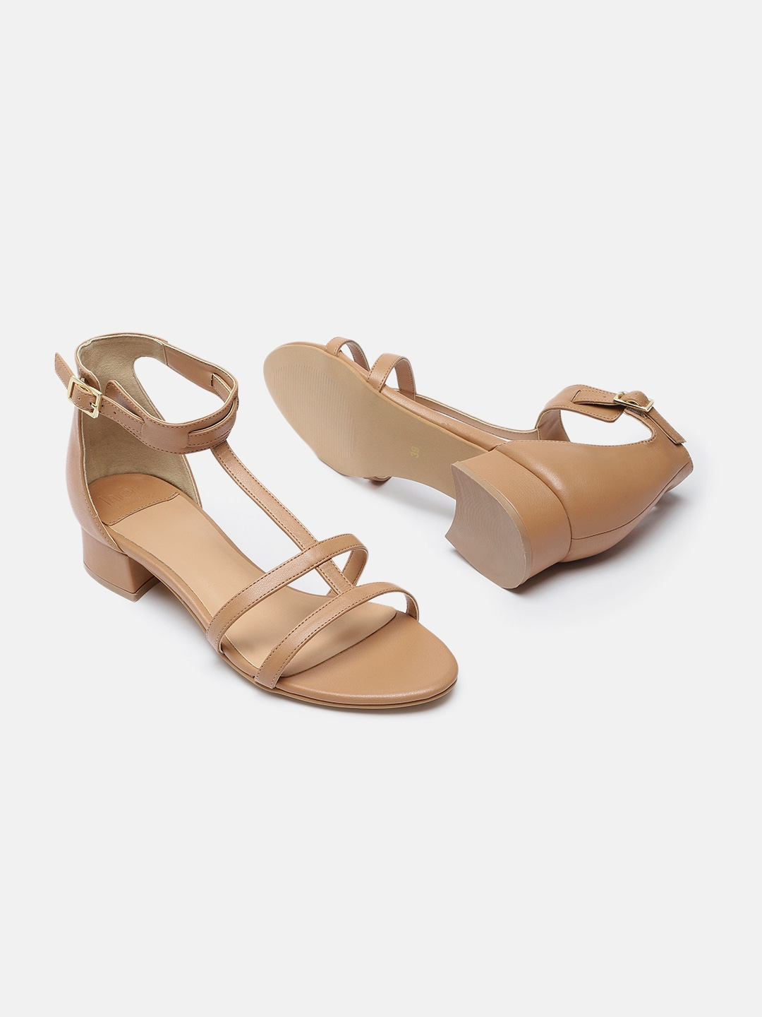her by invictus Women Beige Solid Cushioned Open Toe Sandals
