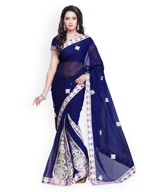 buy janasya turquoise blue georgette u0026 dupion saree sarees for