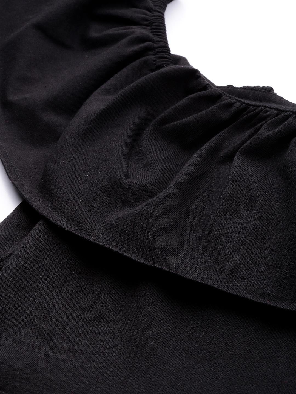 SASSAFRAS Women Black Solid Bardot Playsuit