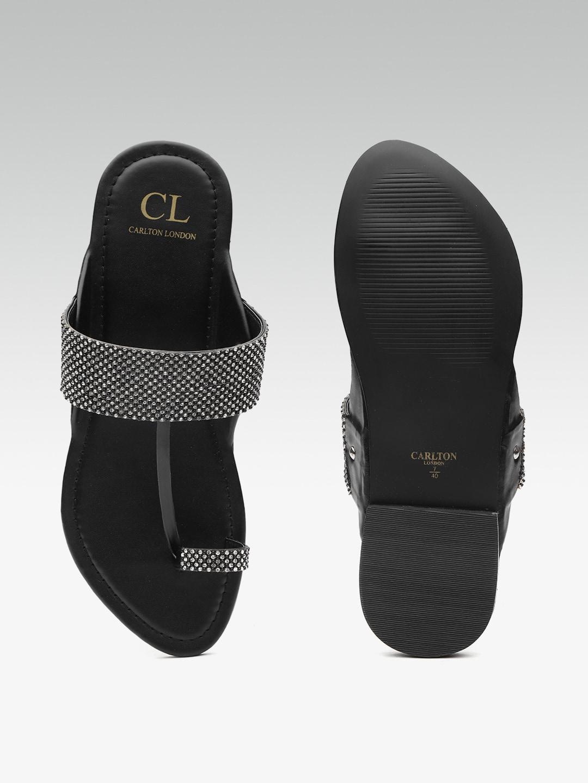 Carlton London Women Black Embellished One Toe Flats
