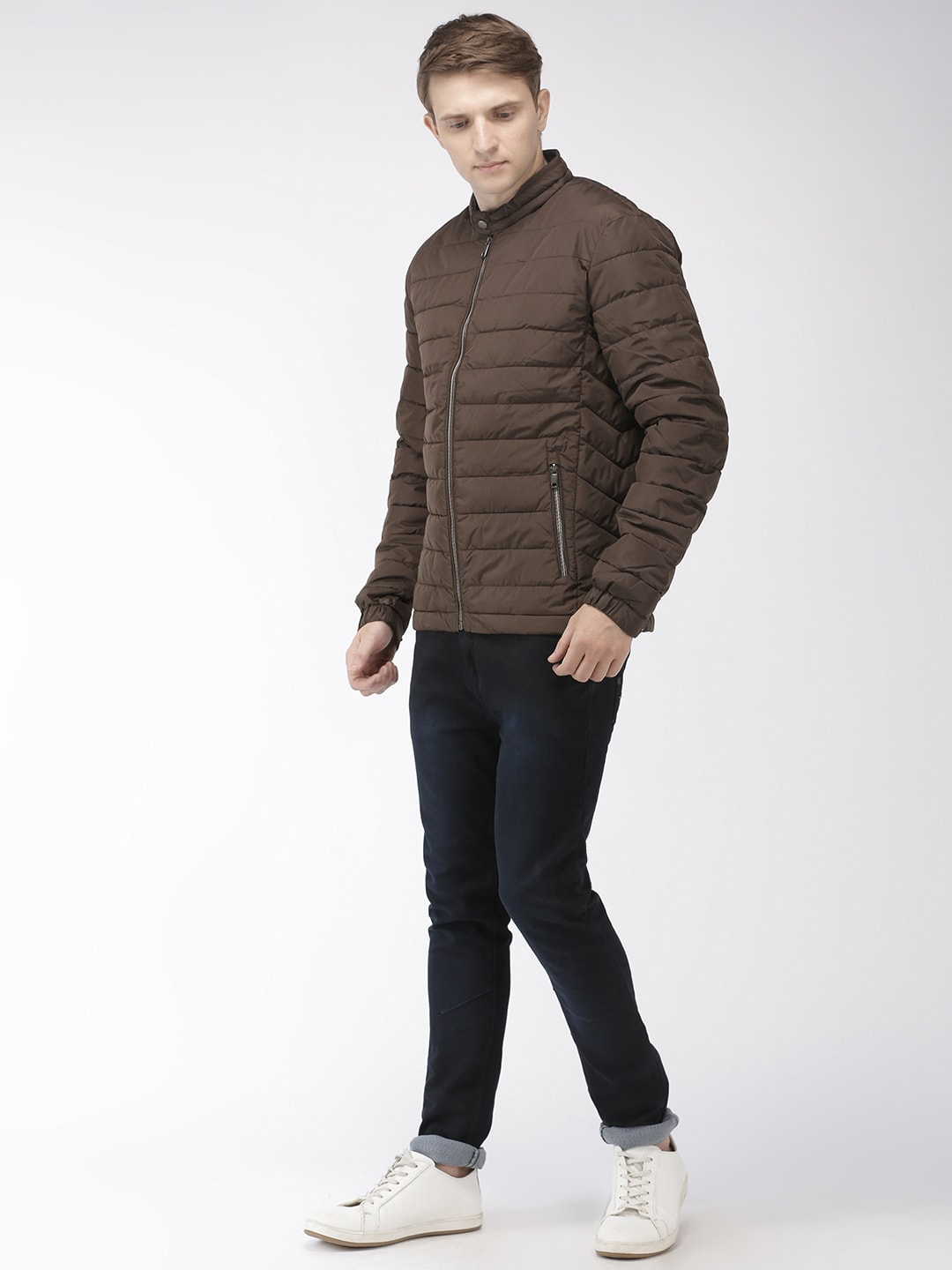 Celio Men Olive Brown Solid Water Resistant Light Weight Puffer Jacket