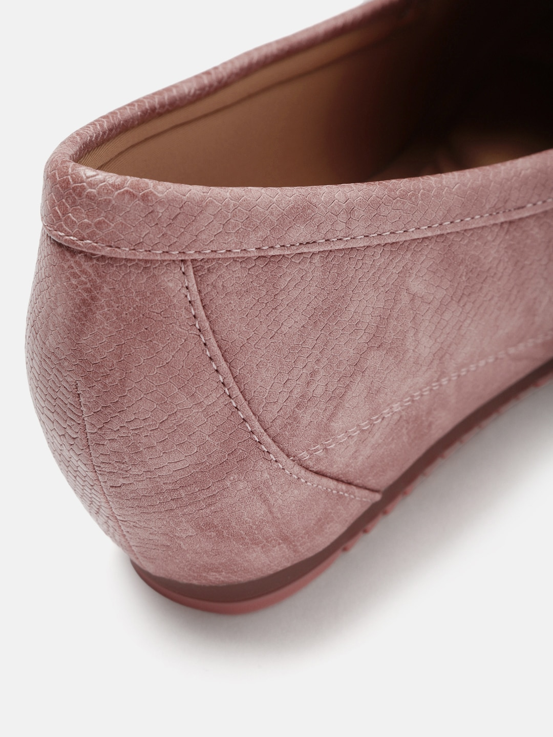 Mast & Harbour Women Pink Textured Concealed Heeled Loafers
