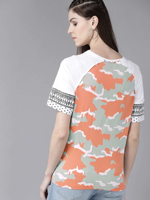 Roadster Women White & Rust Orange Printed Round Neck T-shirt