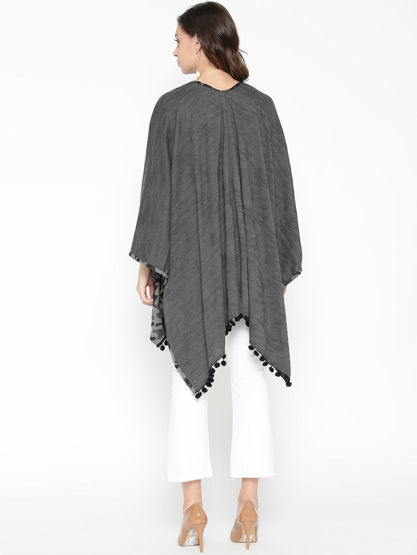 Skidlers Women Charcoal Grey Self Design Open Front Reversible Cape Shrug