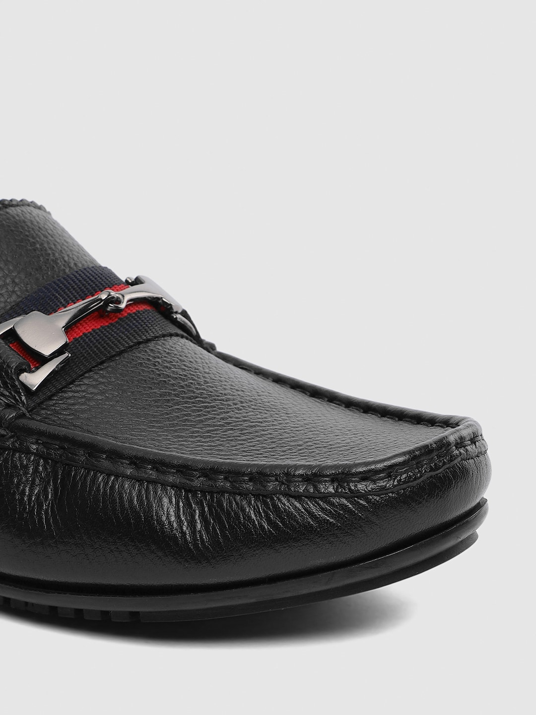 V8 by Ruosh Men Black Leather Driving Shoes
