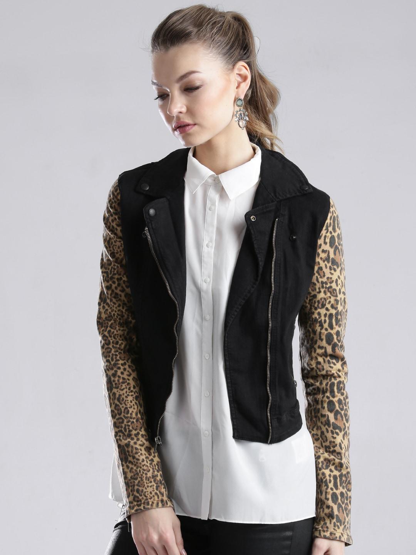 GUESS Black Denim Jacket with Printed Sleeves