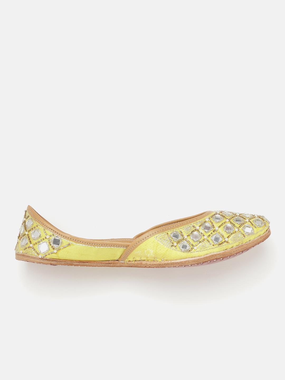 Anouk Women Lemon Yellow & Silver-Toned Embellished Mirror Work Mojaris