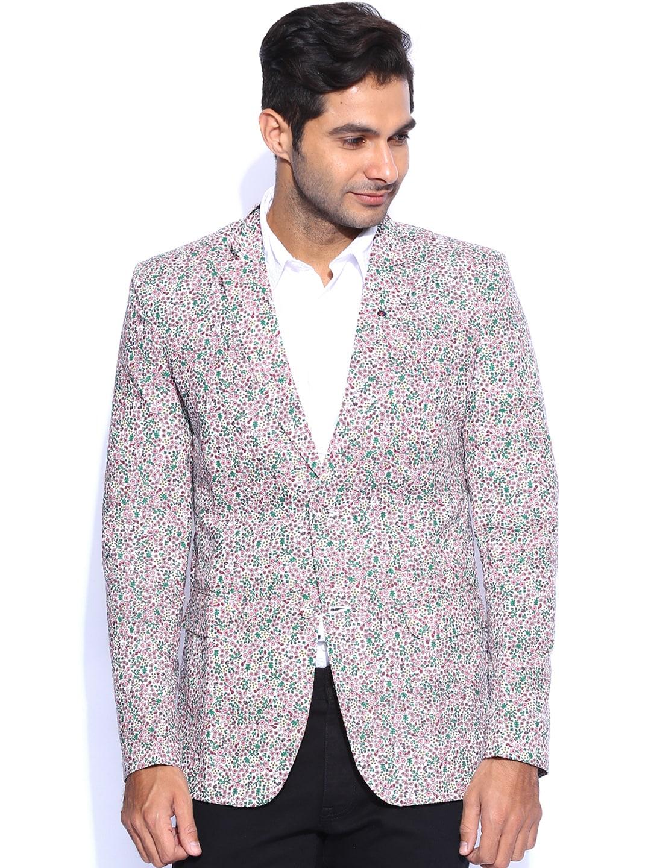 Blazer Quarter White & Pink Floral Print Slim Fit Blazer