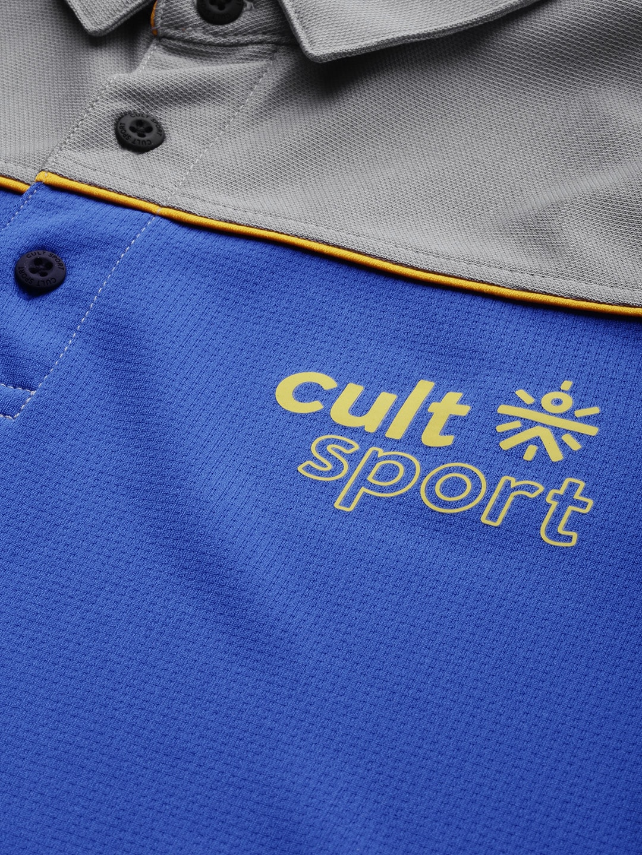 Cultsport Men Blue & Grey Colourblocked Flydry Cool Control Technology Lifestyle T-shirt