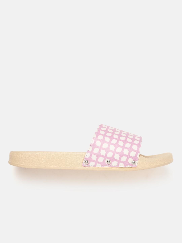 Kook N Keech Women Pink & White Printed Open Toe Flats