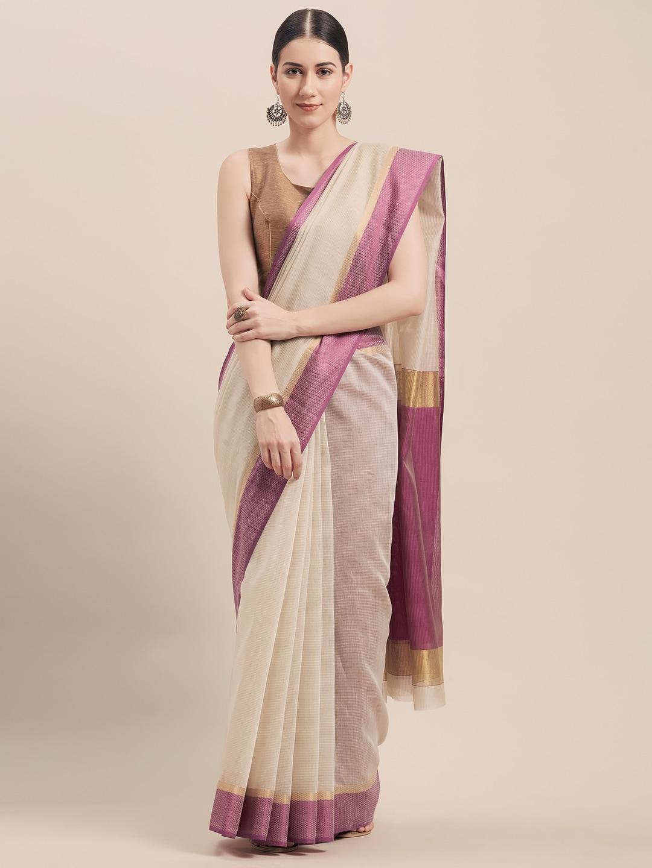 Rajnandini Beige & Purple Cotton Blend Woven Design Saree