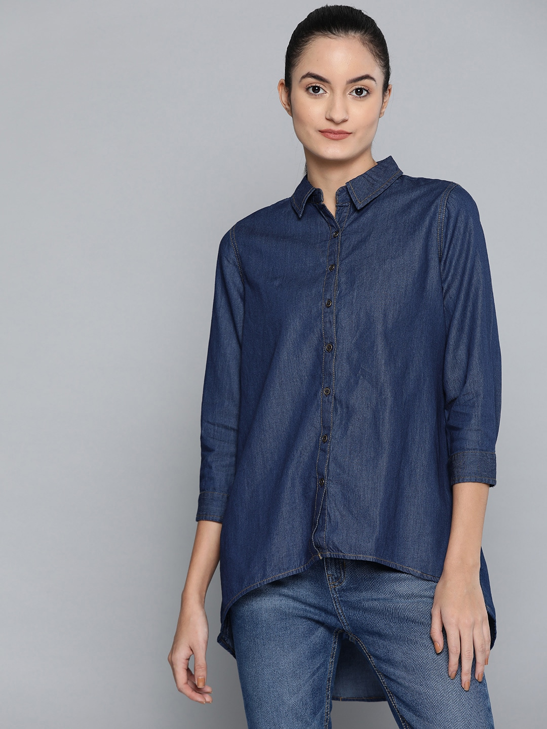 Chemistry Women Navy Blue Solid High-Low Chambray Casual Shirt
