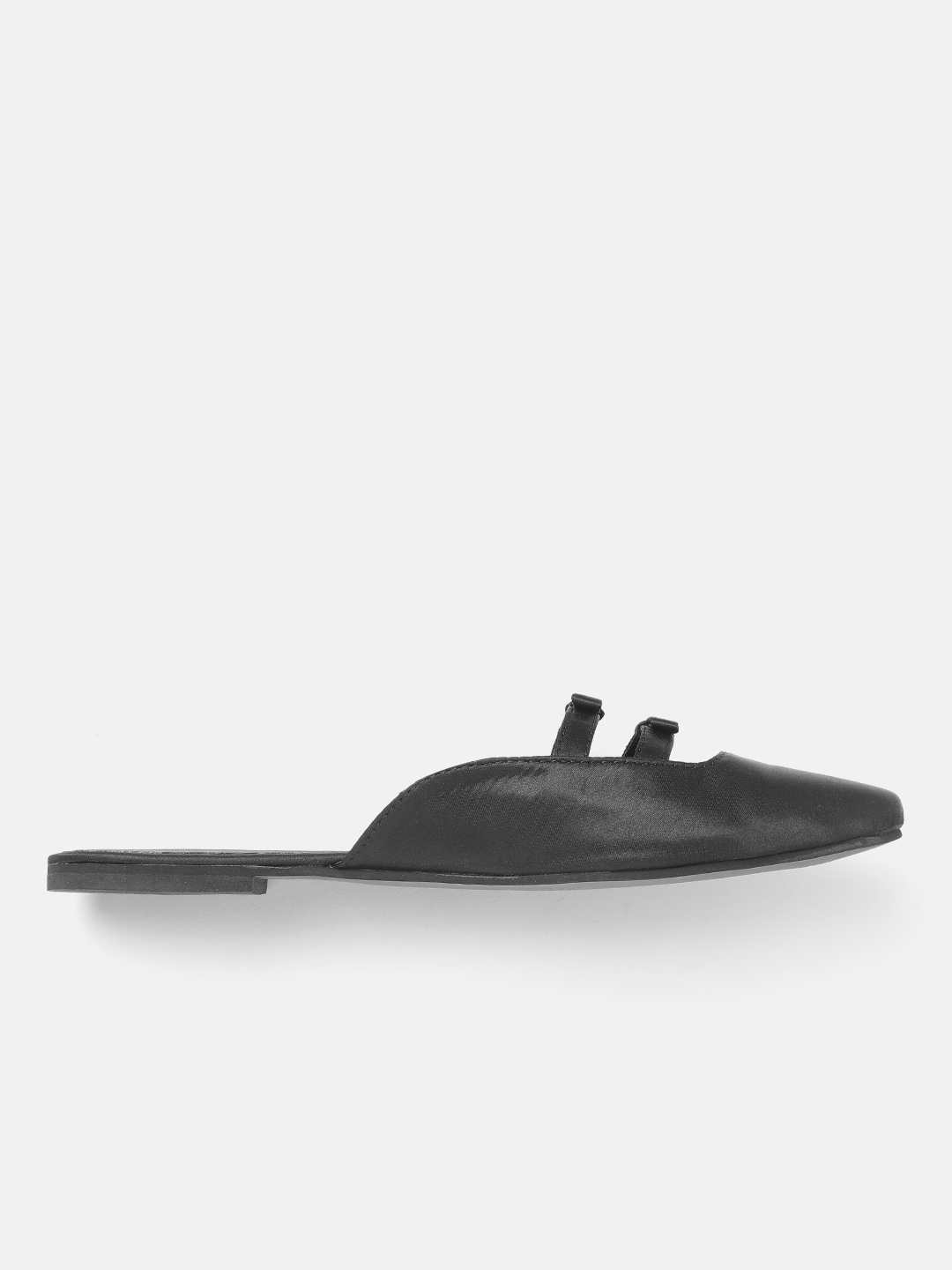 DressBerry Women Black Solid Mules with Bow Detail