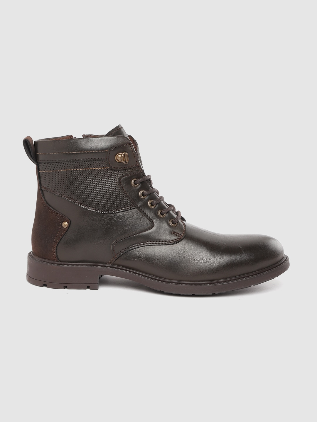 Roadster Men Coffee Brown Solid Mid-Top Flat Boots