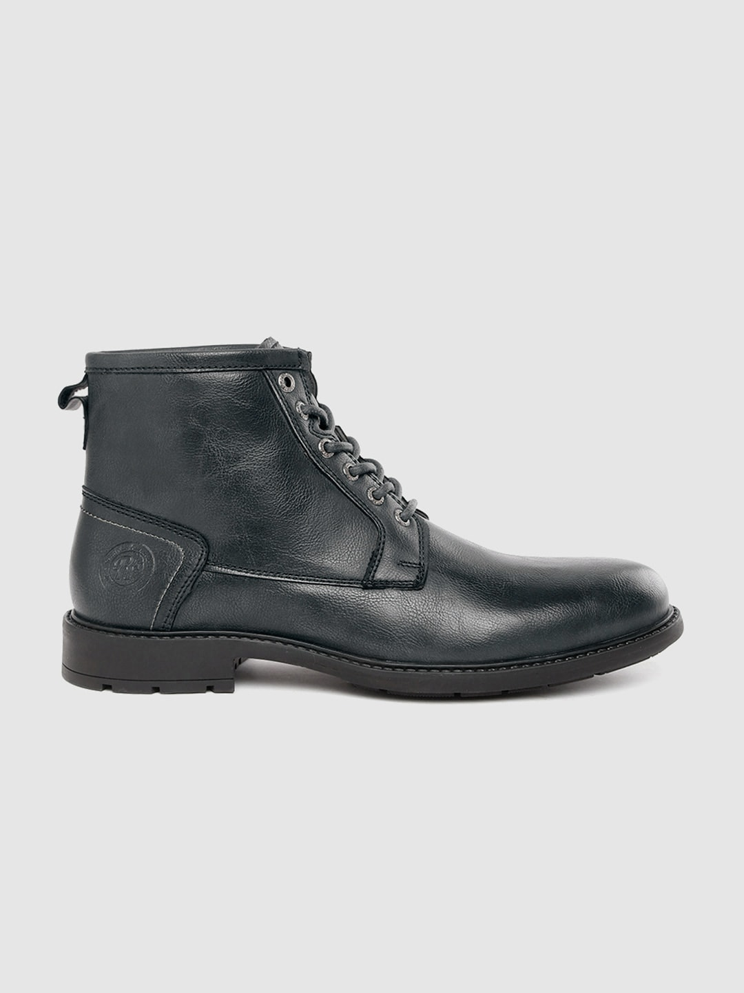 Roadster Men Navy Blue Solid Mid-Top Flat Boots