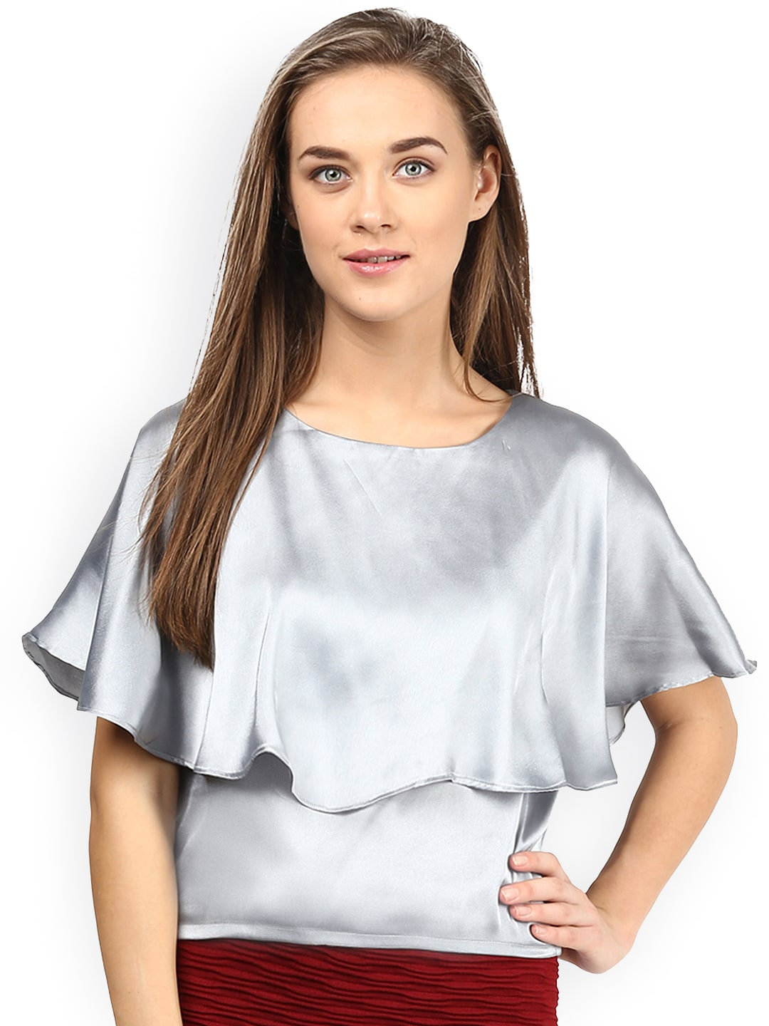Miss Chase Grey Cape Top