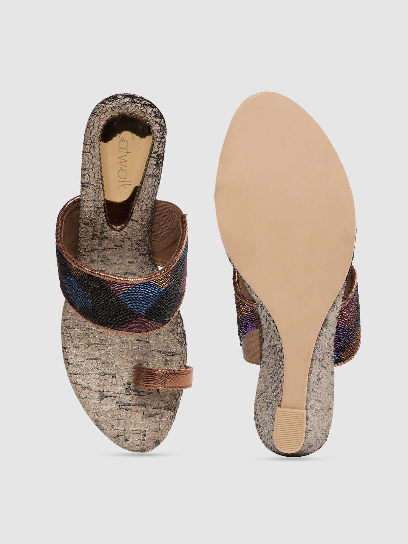 Catwalk Women Multicoloured Embellished Wedge Sandals