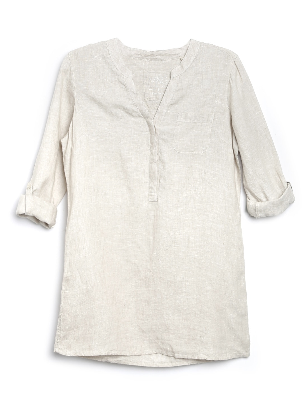 Marks & Spencer Women Beige Linen Tunic