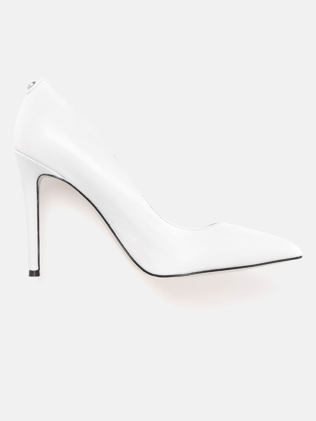GUESS Women White Solid Leather Pumps