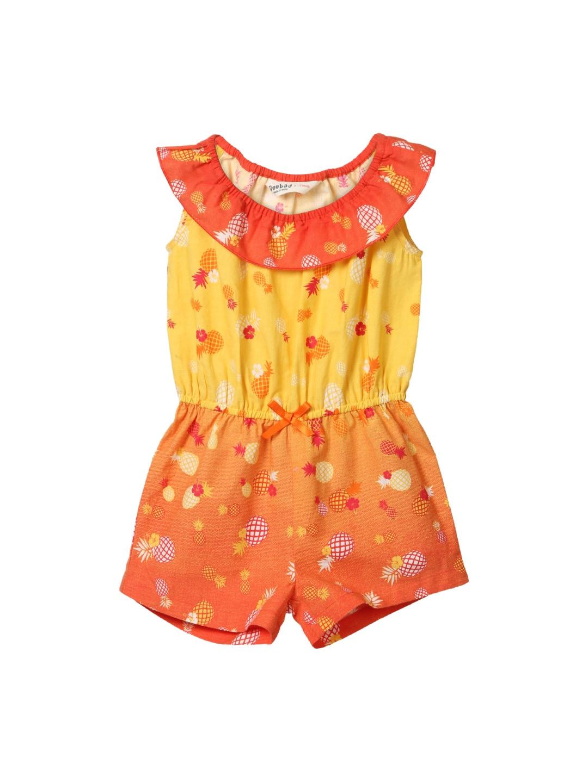 Beebay Girls Orange & Yellow Printed Jumpsuit