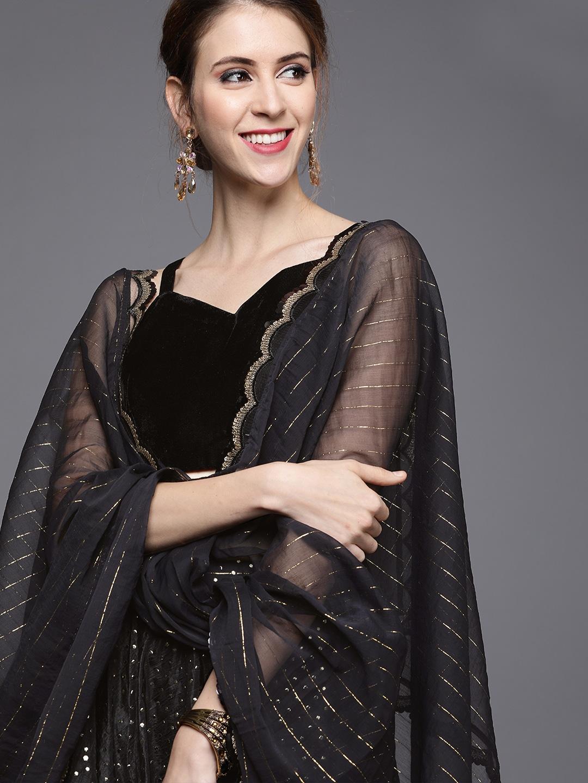 Inddus Black & Gold-Toned Mukaish Work Semi-Stitched Lehenga & Unstitched Blouse
