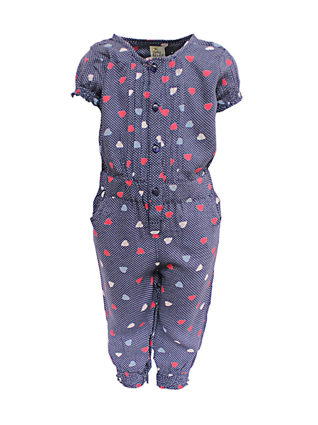 A Little Fable Girls Blue Printed Jumpsuit