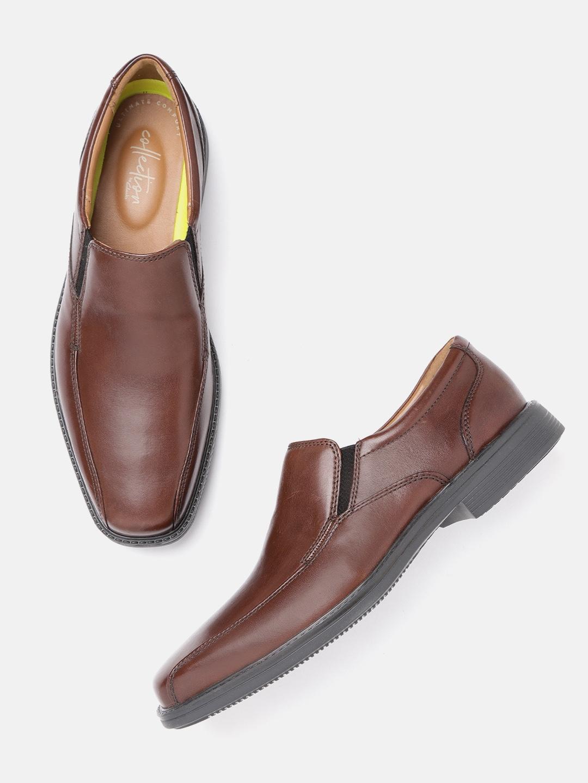 Clarks Men Brown Solid Leather Formal Slip-Ons
