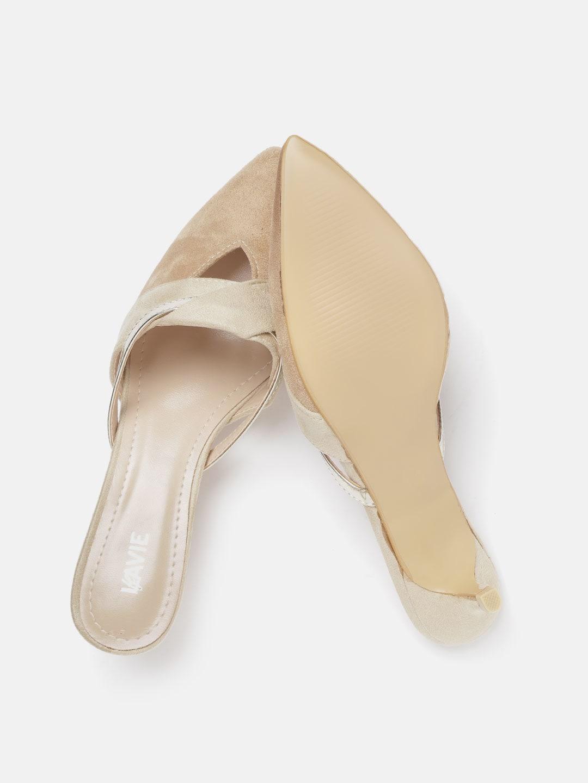 Lavie Women Beige & Gold-Toned Solid Mules