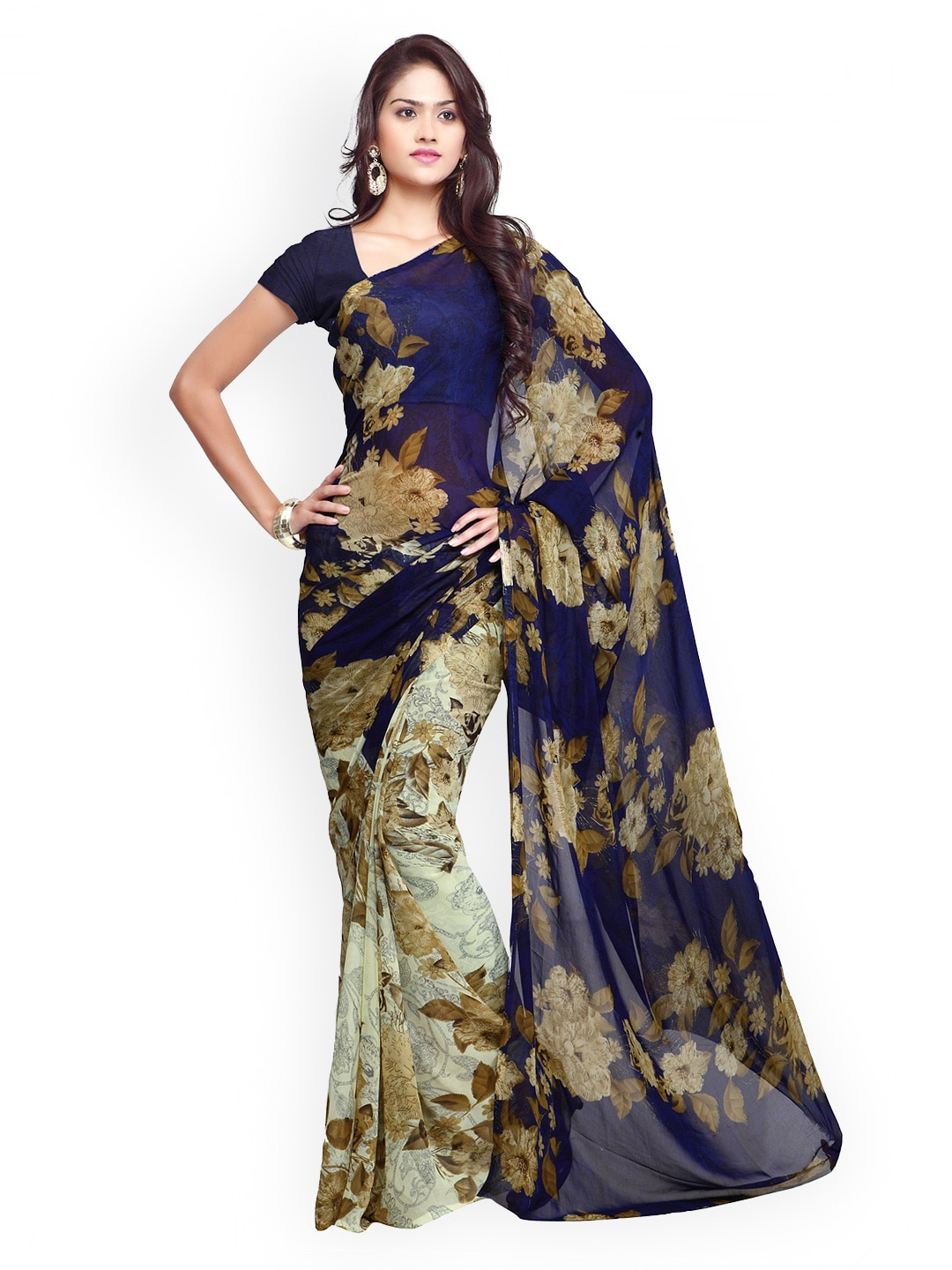 8c5b2bb88 Navy Blue Sarees - Buy Navy Blue Sarees Online - Myntra